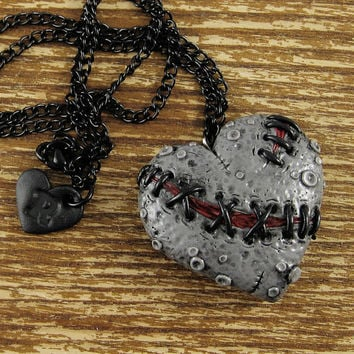 Dead Stitched Zombie Heart Necklace