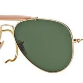 RAY BAN 3030 58 OUTDOORSMAN L0216 GOLD SUNGLASSES SUNGLASSES GOLD AUCTION RACOON