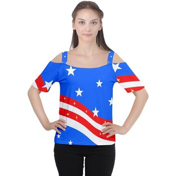 Bright American Flag Cutout Shoulder Tee