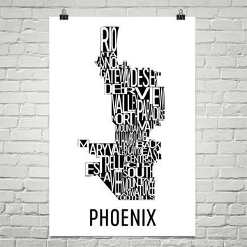 Phoenix Neighborhood Typography Prints – Modern Map Art
