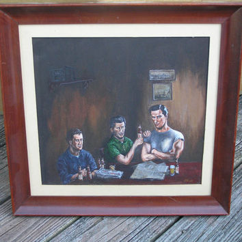 vintage PITTSBURG BAR Scene by Dave Vissat rockabilly Iron City Beer happy hour