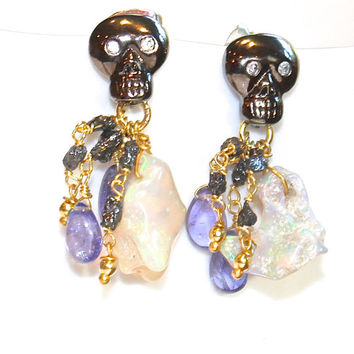 Ethiopian Opal Earrings Skull Earrings Grey Diamond Tanzanite Earrings Diamond Jewelry Opal Jewelry FizzCandy Luxe Style