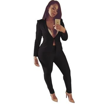 Office Lady Business Suit Two 2 Piece Sets Long Sleeve Formal Blazer Jacket & pencil Pant suit sexy clubwear elegant