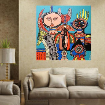 "African Masks..... original painting, acrylic on wood, 23.6x23.6"", 60x60 cm, african culture, abstract, fantasy, masks, tradition"