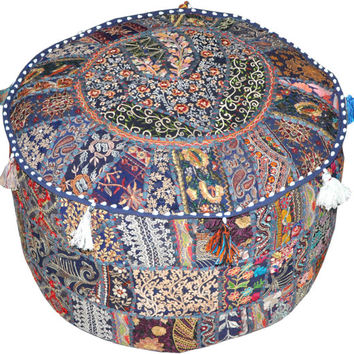 Round Ottoman Pouf in Purple bohemian stool chair pouffe pouffes decorative Cushion Ethnic Indian Decor Art Indian floor PILLOW bean bag