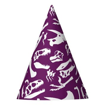 Dinosaur Bones (Purple) Party Hat