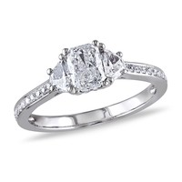 Radiant and Half Moon Diamond Engagement Ring 1ctw - Size 8