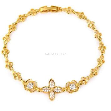 Amarilis Cz Clear Flower Gold Plated Bracelet