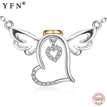 Genuine 925 Sterling Silver Angel Wings Necklace Crystal Love Heart Pendants Necklaces New Arrival Jewelry Choker Women PYX0142