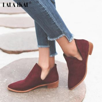 LALA IKAI V Shape Pointed Toe Ankle Boots Flock Slip-On Winter Boots Women's Autumn Shoes Low Heels Chelsea Boots 040N1367-3.5