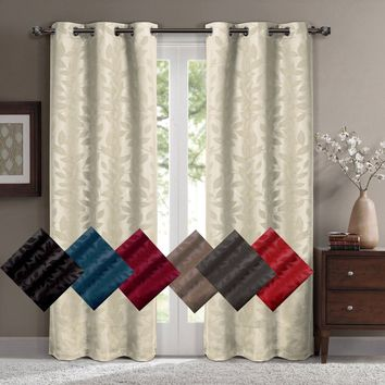 Virginia Grommet Blackout Weave Embossed Window Curtain Panels, Pair / Set of 2 Panels, by Royal Hotel