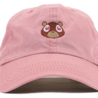 Pink Kanye West Bear Embroidered Cotton Hat Baseball Cap