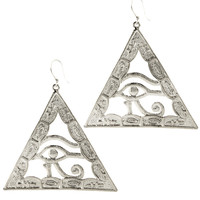 Silver Egyptian Eye of Horus Earrings