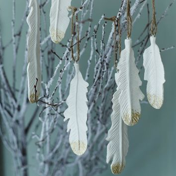 Set of 6 White Hanging Feathers