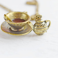 Friendship Teapot and Coffee Necklace,Best Friend Necklace,Alice in Wonderland Coffee and Teapot Necklace,Couple Necklace,Trust Relationship