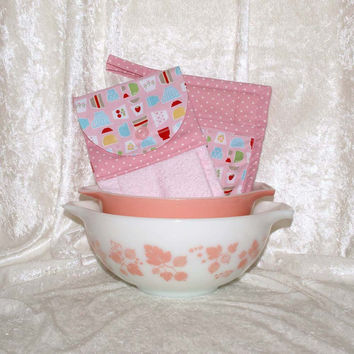 3 Piece Kitchen Set • Handmade Hanging Hand Towel • 2 Potholders • Vintage Pyrex Bowl • Retro Fire King Tulips • Pink Strawberry Cherry Dots