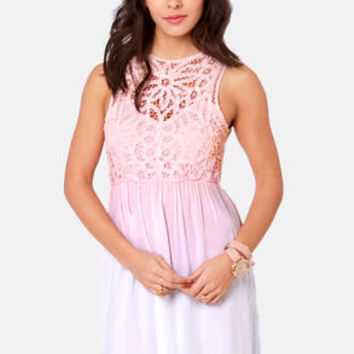 Dip Dye-namite Peach and White Ombre Lace Dress