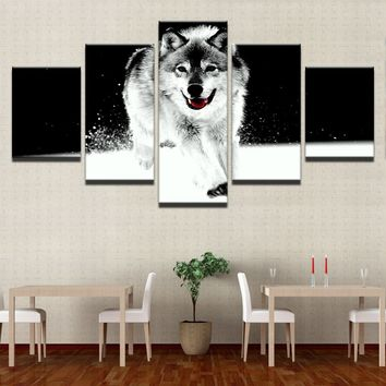 """LARGE 60""x32"" 5Panels Canvas HD Prints Poster Home Wall Art 5 Pieces Animal Snow Wolf Pictures Black And White Abstract Paintin"
