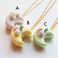 Pastel Macaron Crescent Moon Sandwich Necklace/Miniature Food Jewelry/ Kawaii jewelry