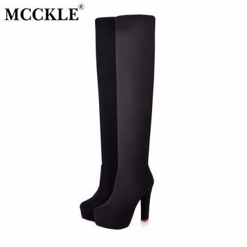 MCCKLE Sexy Thin Square Heels Over The Knee Boots Winter Stretch Suede Thigh High Long Boot Woman Plus Size 35-43 Women's Shoes