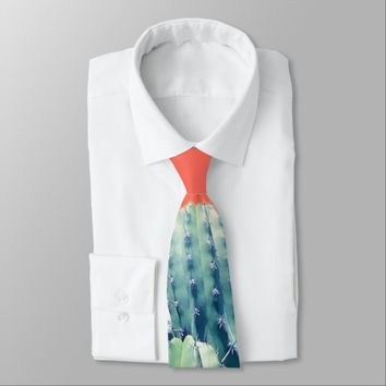 Cactus on Coral Tie