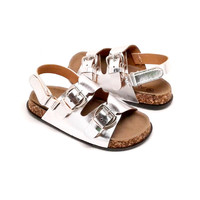 Toddler Silver Metallic Sandal with Buckle Design and Hook and Loop Strap