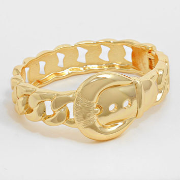 """6.50"""" gold hinged 1.10"""" buckle chain link bracelet bangle cuff stack"""
