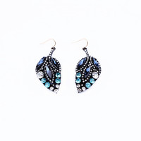 Leaf Shape Rhinestone Earrings