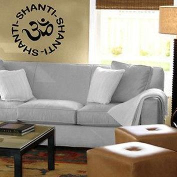 Yoga Shanti Symbol Om Sanskrit Spiritual Decor Wall MURAL Vinyl Art Sticker Unique Gift M588