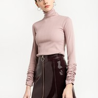 Dusty Pink Ruched Sleeve Turtleneck Top