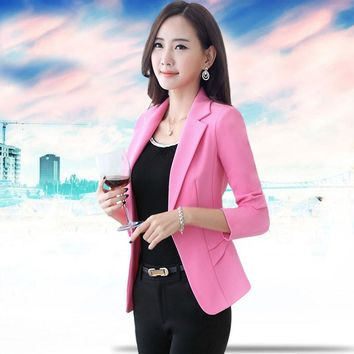 2017 summer ol solid one button notched collar fit women's blazers formal office business suits bleiser feminino plus size