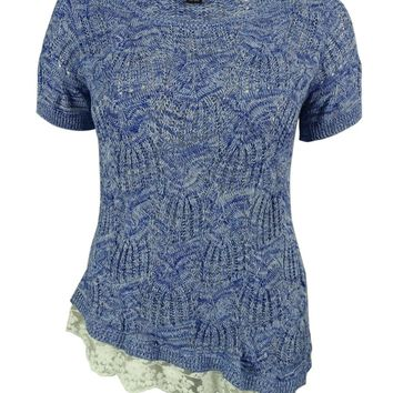 INC International Concepts Women's Marled Lace Hem Sweater