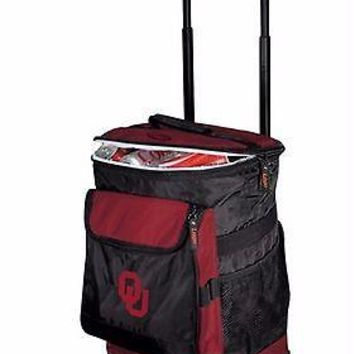 Oklahoma Sooners Backpack Rolling Wheeled Insulated Cooler Ice Bottle Can (NWT)