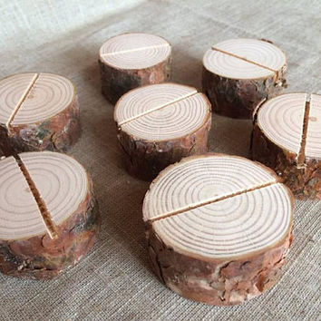 50 Natural Wood Place Card Holders, Natural Wood Place Card Holders, Natural Wood Circle Place Card Holders Set of 50