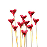 10 Red Glitter Origami Heart Cupcake Toppers - Birthday, Wedding, Engagement Party, Tea Party, Valentines, Anniversary