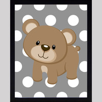 Brown Bear on Gray Dots Print Nursery Decor Baby Print Animals Art CUSTOMIZE YOUR COLORS 8x10 Prints Nursery Decor Art Baby Room Decor Kids