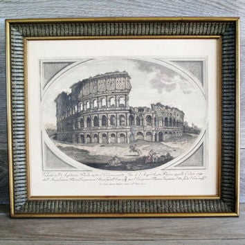 SALE ITEM  Vintage Framed Etching  Wall Hanging  by LetterKay