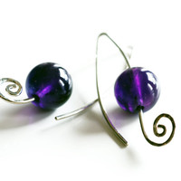 Purple Amethyst spiral drop earrings made from solid sterling silver , February birthstone jewelry