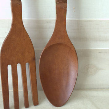 1970s Wooden Wall Serving Utensils, Vintage Carved Wooden Tiki Fork and Spoon