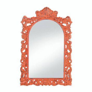 Distressed Orange Wood Frame Timeless Style Ornate Flourishes Wall Mirror