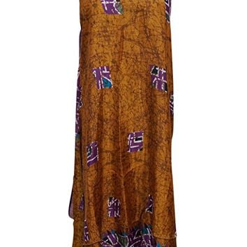 Sundress Dresses Sexy Brown Silk Sari Two Layer Reversible Renaissance Wrap Skirt