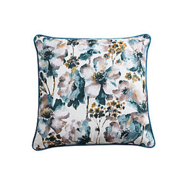 "18"" x 18"" Floral Decorative Pillow - Teal"