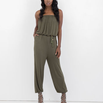 ALINA STRAPLESS JUMPSUIT - OLIVE