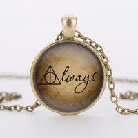 (1 Piece Lot) Always glass pendant Always Necklace Deathly Hallows Pendant Necklace best friend gift