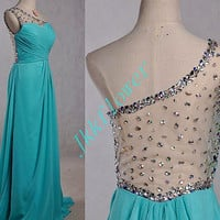 Unique Ice Blue One Shoulder Backless Prom Dresses 2015 Long Foraml Party Evening Dresses,Bridesmaid Dresses,Homecomi