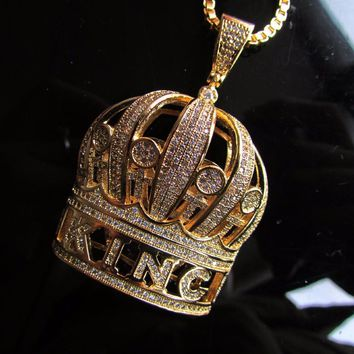 AUGUAU king crown iced out necklace