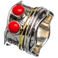 Spinner Ring - Two Tone Sterling Silver Coral