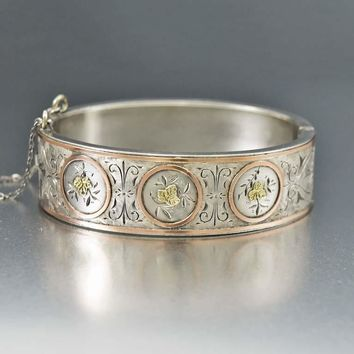 Fine Yellow and Rose Gold Antique Silver Cuff Bracelet