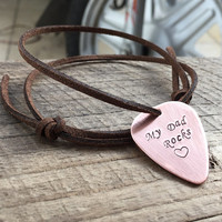 Personalized men's Gift, Guitar pick necklace, Men's Fashion Accessories for dad, my dad rocks necklace, personalized guitar pick necklace