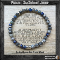 Om Prayer Wheel: Picasso + Sea Sediment Jasper Yoga Mala Bead Bracelet